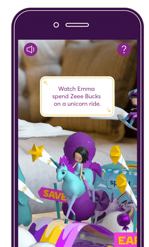 A phone screenshot showing Emma riding a unicorn in augmented reality